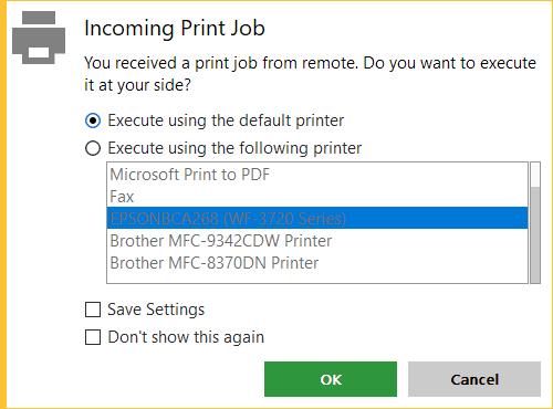 Incoming print job